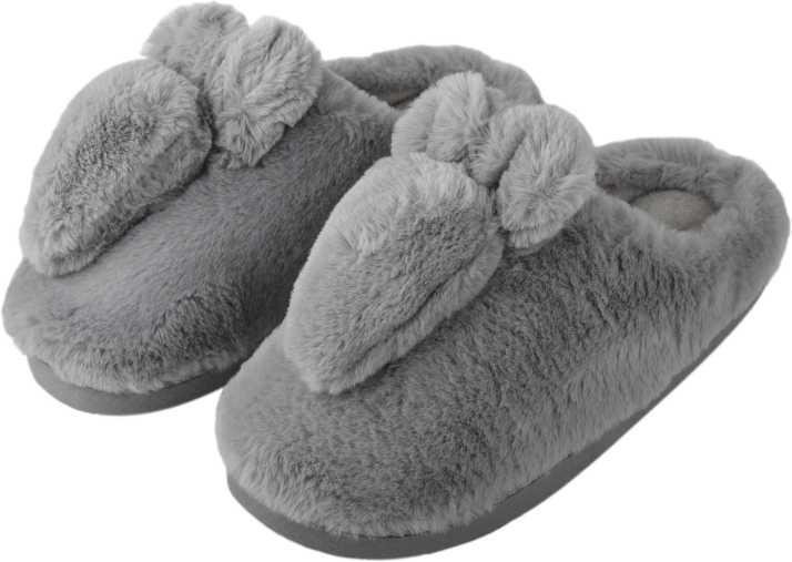22d2394e98 IRSOE Women and Girls Velvet Anti-Slip Soft Bottom Winter Rabbit Slippers  Wool Slip-On Indoor   Outdoor Fur Slippers - Grey Slides - Buy IRSOE Women  and ...