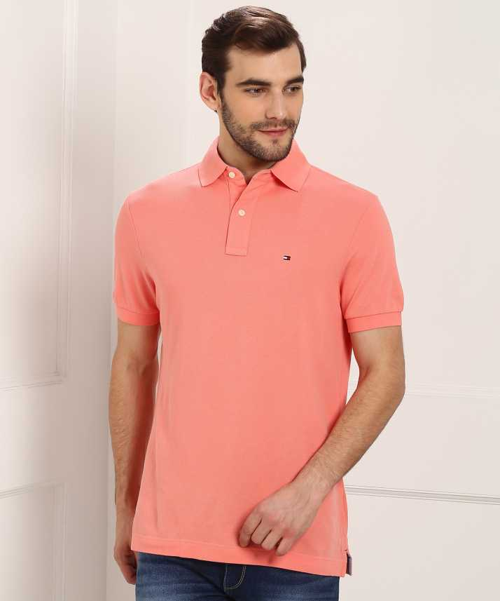 c3871e11c Tommy Hilfiger Solid Men Polo Neck Pink T-Shirt - Buy Tommy Hilfiger Solid  Men Polo Neck Pink T-Shirt Online at Best Prices in India