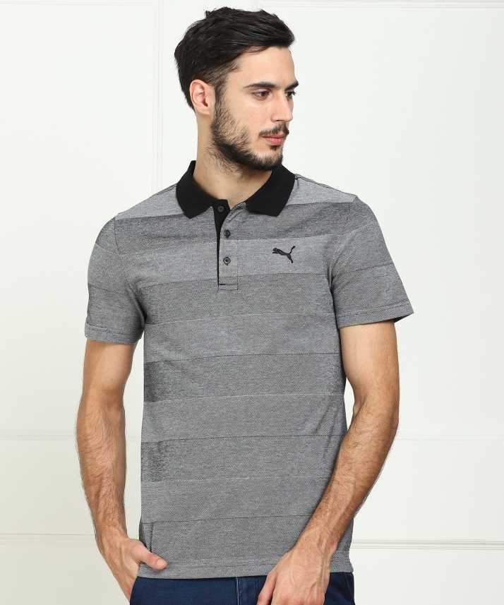 d4abf9da46 Puma Striped Men's Polo Neck Grey T-Shirt - Buy Puma Striped Men's Polo  Neck Grey T-Shirt Online at Best Prices in India | Flipkart.com