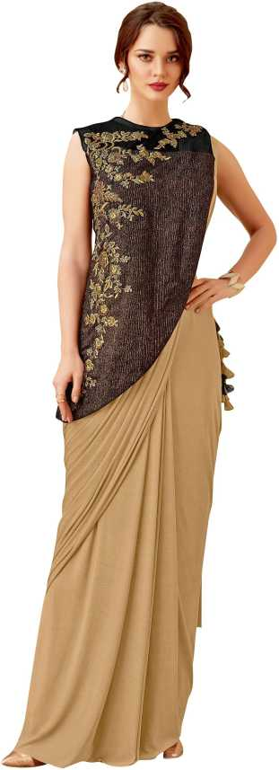 Buy Mahotsav Embroidered Bollywood Lycra Blend Beige Sarees