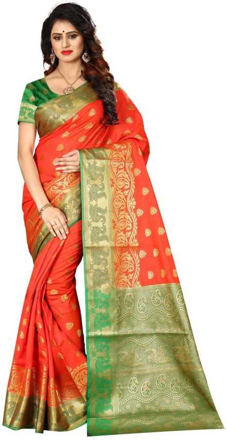 0ea592d8fa68de Buy shoppershopee Woven Paithani Banarasi Silk