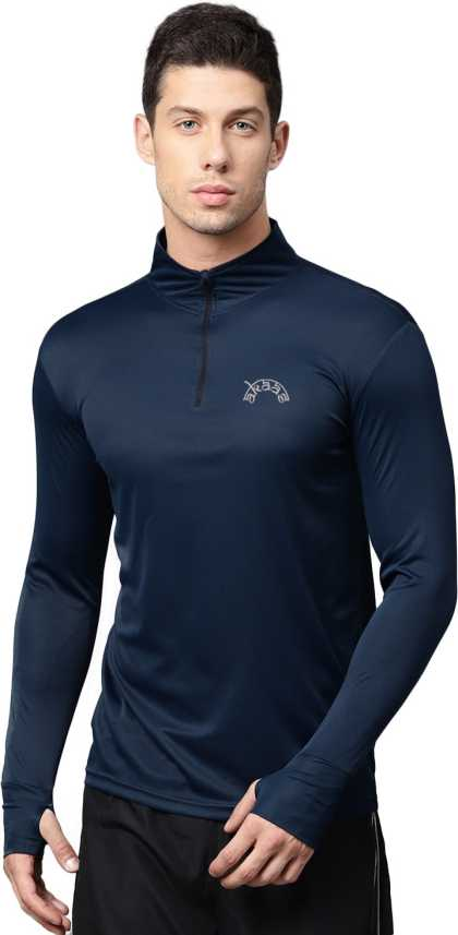eb52ae4d0a Akaas Solid Men s Mock Neck Dark Blue T-Shirt - Buy Akaas Solid Men s Mock  Neck Dark Blue T-Shirt Online at Best Prices in India