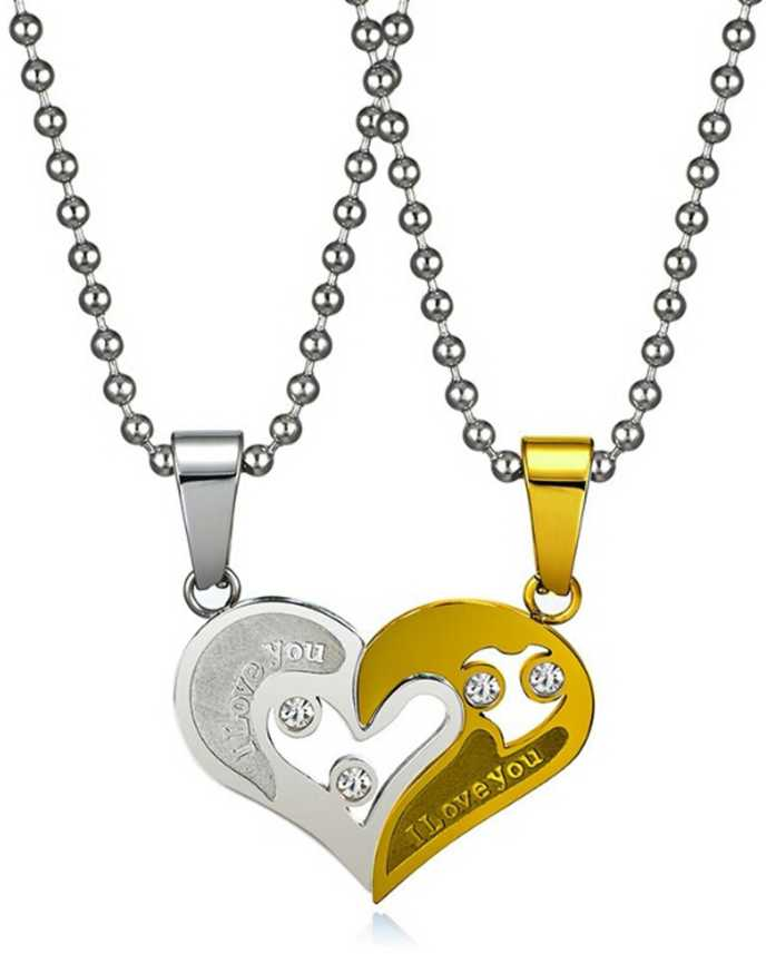 e696e912ba styles creation Men's Heart Shape Valentine Lover Couple Pendant Necklace /  Locket Jewellery / Ball Chain Gold-plated Metal Pendant Half Heart Pendant  Chain ...