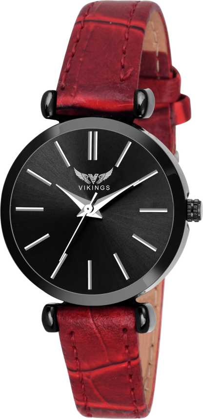 VIKINGS GIRL'S VK-LR-034-BLK-RED LEATHER BELT WATCH GENUINE LEATHER Analog  Watch - For Women