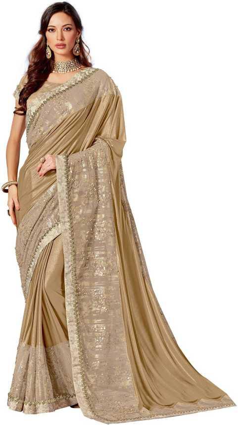 Buy Mahotsav Embellished Bollywood Lycra Blend Beige Sarees