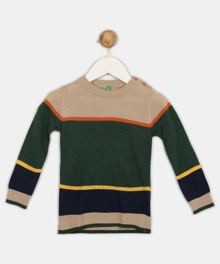 659a8dac0616 United Colors of Benetton Striped Round Neck Casual Boys Multicolor ...