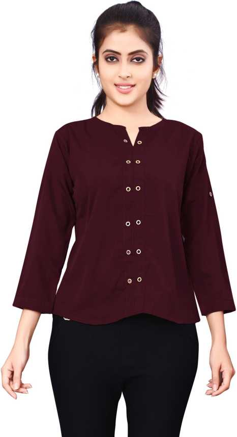 d42f2f0aebe71e Leriya Fashion Formal Full Sleeve Solid Women s Maroon Top - Buy Leriya  Fashion Formal Full Sleeve Solid Women s Maroon Top Online at Best Prices  in India ...
