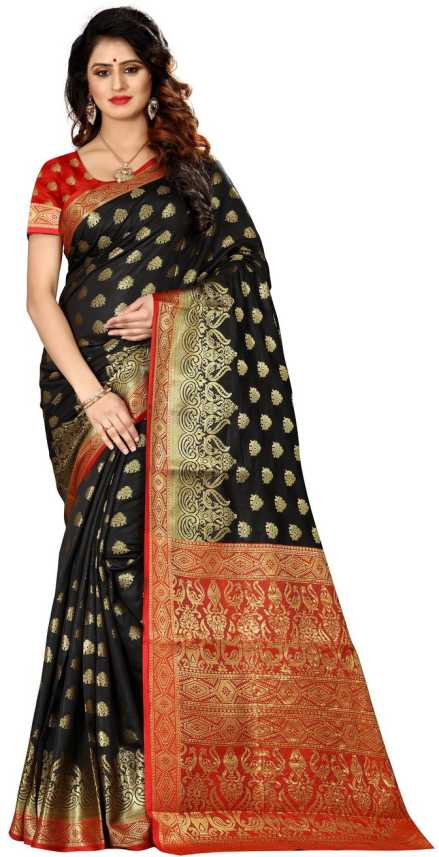 16f7b2980e Shoppershopee Embellished Banarasi Black Banarasi Silk, Art Silk Saree  (Black)