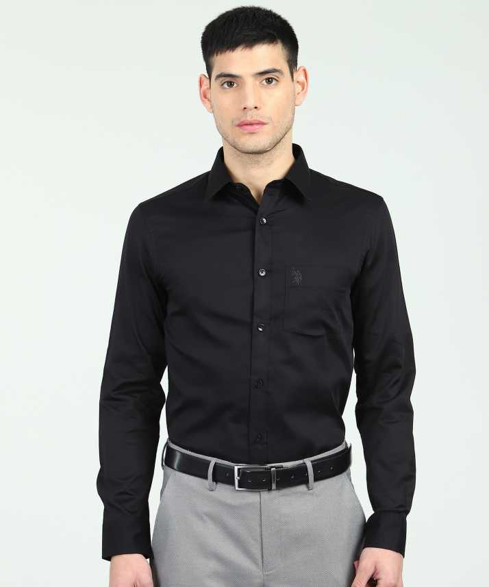 0adebf97a81 U.S. Polo Assn Men s Solid Casual Black Shirt - Buy U.S. Polo Assn Men s  Solid Casual Black Shirt Online at Best Prices in India