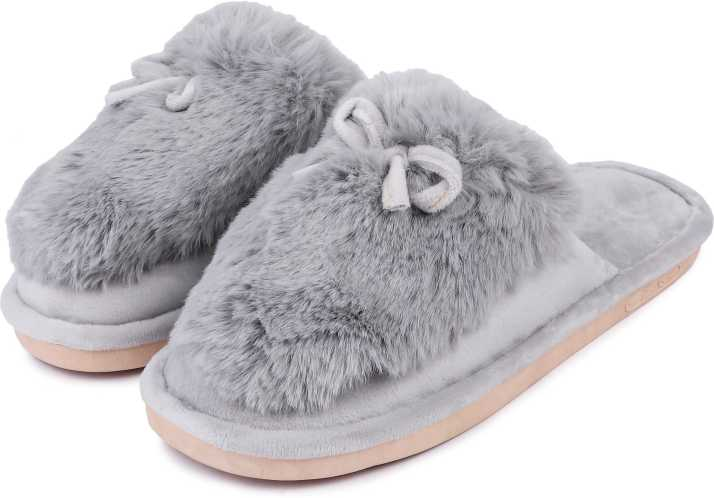 b0b0a5701 Brauch Grey Fluffy Fur Bow Winter Slippers - Buy Brauch Grey Fluffy Fur Bow  Winter Slippers Online at Best Price - Shop Online for Footwears in India  ...