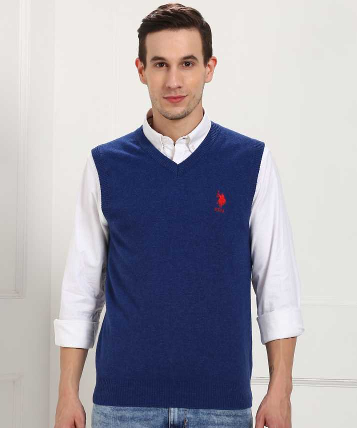 U.S. Polo Assn Solid V neck Casual Men Blue Sweater
