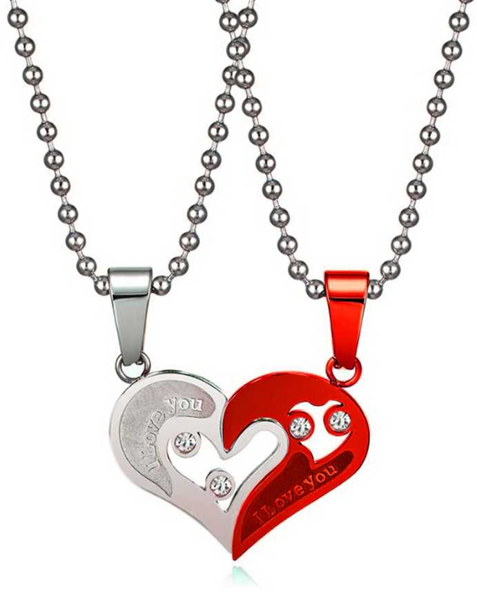 9263bcd0e03ef styles creation Couple Lover's Valentine Special Broken Two Half Heart  Shape Love Pendant Necklace / Locket Chain Jewellery ARTFLJWL156 Sterling  ...