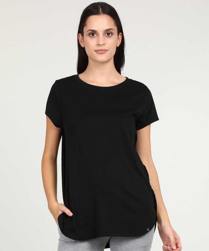 90a831d981 Van Heusen Solid Women's Round Neck Black T-Shirt - Buy Van Heusen Solid  Women's Round Neck Black T-Shirt Online at Best Prices in India    Flipkart.com