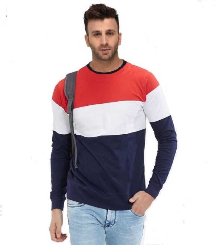 6c965e8d FastColors Color block Men Round Neck Red, White, Blue T-Shirt - Buy  FastColors Color block Men Round Neck Red, White, Blue T-Shirt Online at  Best Prices in ...