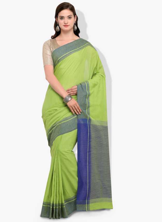 ceba9cde682b30 The Fashion Outlets Woven, Solid Bollywood Linen, Cotton Silk Saree (Green)