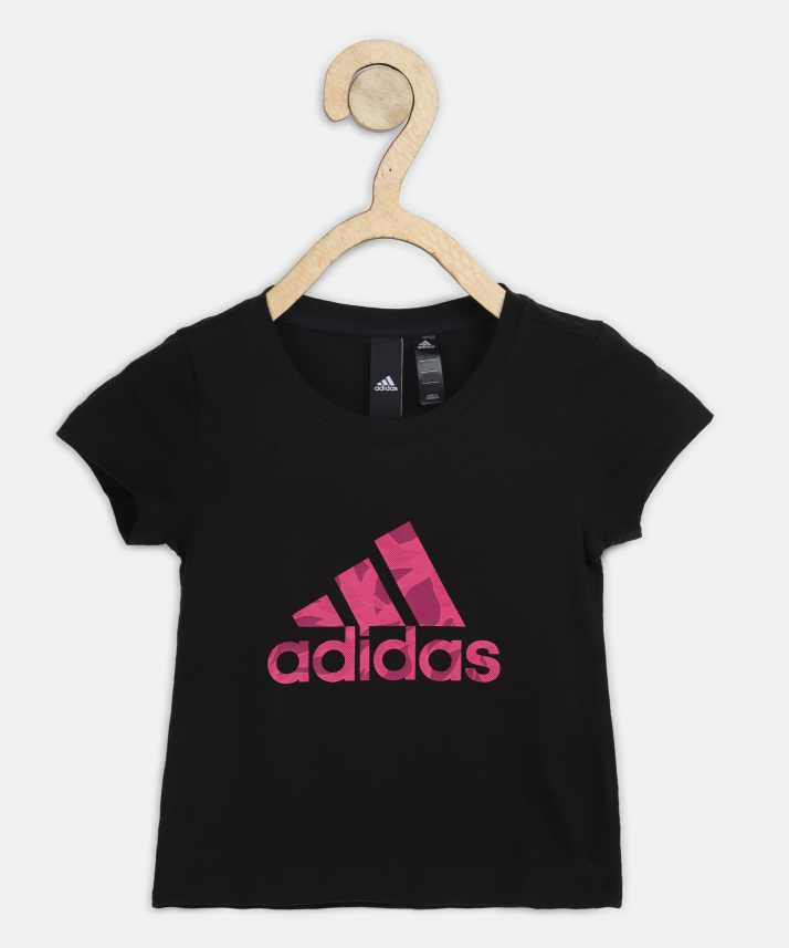 8645dd09 ADIDAS Girl's Printed Cotton T Shirt (Black, Pack of 1). Special price