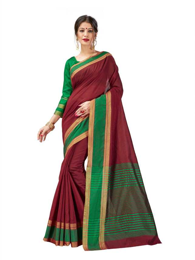 7e5927dcb3 MARUDHAR KESRI Striped, Woven Chanderi Cotton Silk Saree (Multicolor)