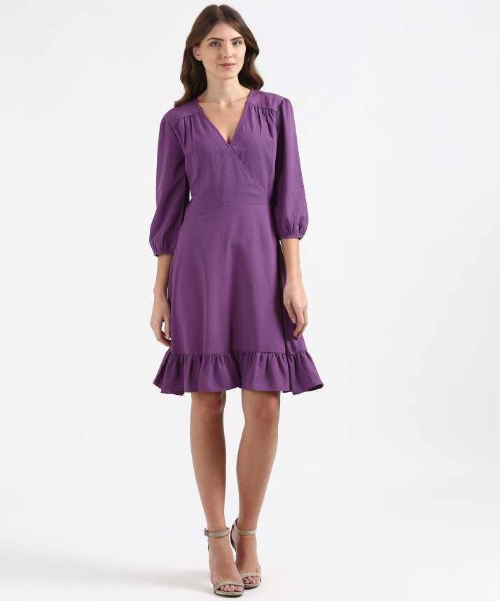 6d858abccf Marks & Spencer Women Peplum Purple Dress