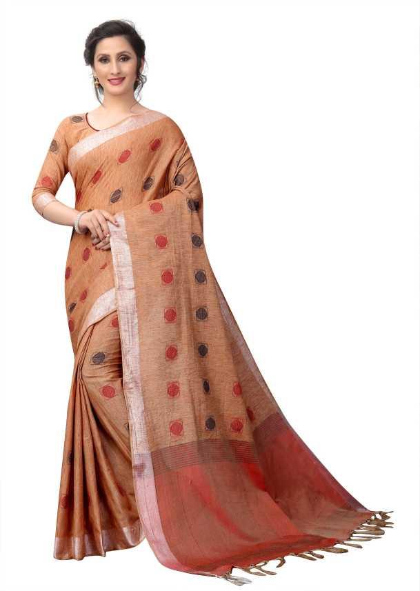 ffdbe4e835edf0 Buy ArrayBlue Geometric Print Fashion Linen Brown Sarees Online ...