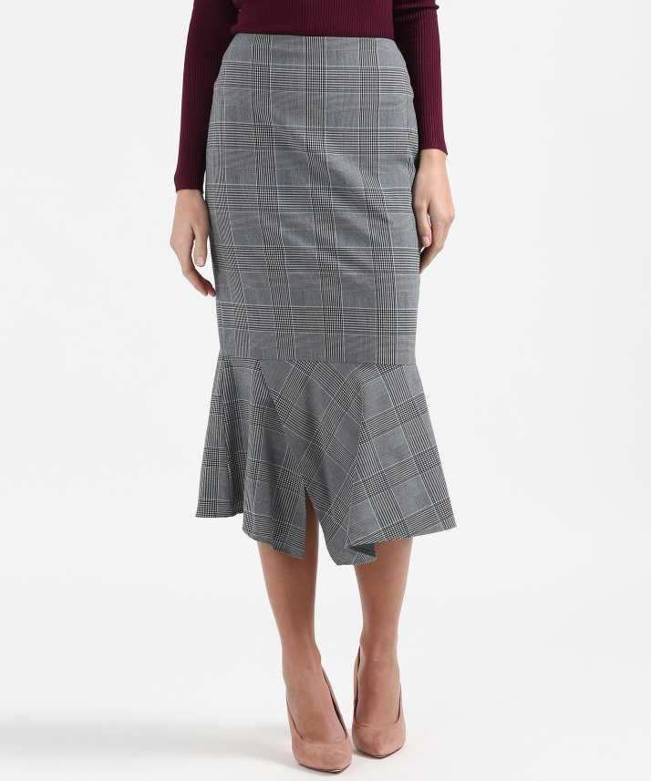 0aec9eb64 Marks & Spencer Checkered Women's Peplum Grey Skirt - Buy Marks ...
