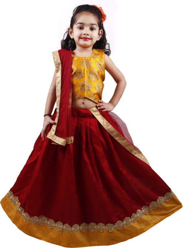 554e89e111 NAJARA FASHION Indi Girls Lehenga Choli Ethnic Wear Embroidered Ghagra Choli  (Yellow, Pack of 1)