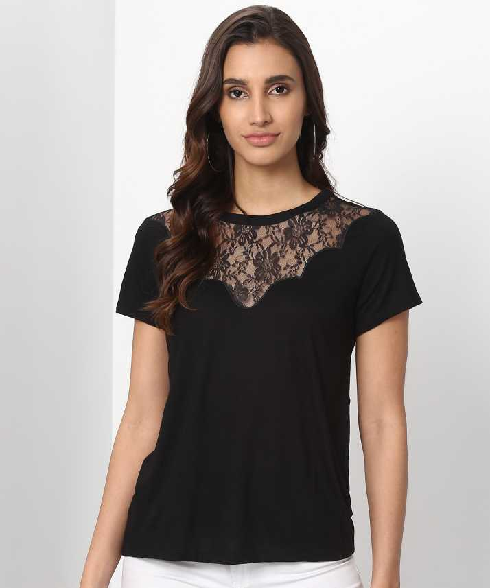 b32eed170cd Trendyol Casual Half Sleeve Lace Women s Black Top - Buy Trendyol Casual  Half Sleeve Lace Women s Black Top Online at Best Prices in India