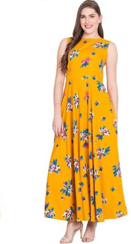 7867fad5445c 16 Always Women Fit and Flare Yellow Dress - Buy 16 Always Women Fit and Flare  Yellow Dress Online at Best Prices in India | Flipkart.com
