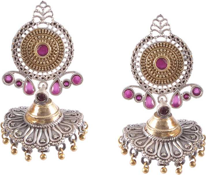 c29e69b2450 Flipkart.com - Buy Natures Buggy Beautiful Oxidized With Ruby Stones Brass  Jhumki Earring Online at Best Prices in India