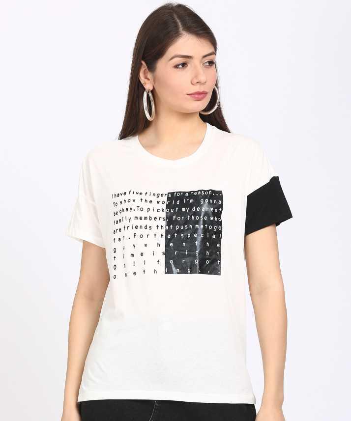 3ca88fcb8e1 Sugr Casual Half Sleeve Printed Women s White Top - Buy Sugr Casual Half  Sleeve Printed Women s White Top Online at Best Prices in India