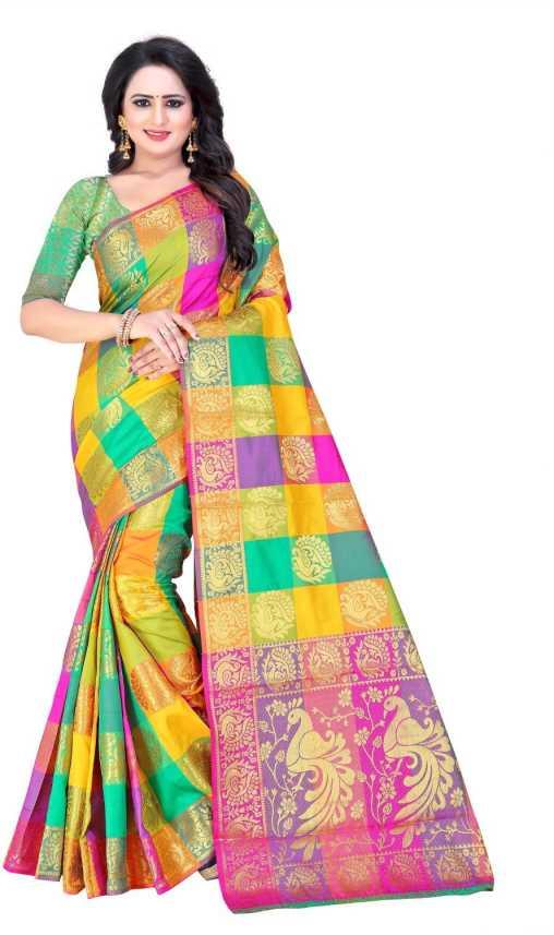 206183666c Bombey Velvat Fab Color Block, Checkered, Checkered Paithani Poly Silk, Art  Silk Saree (Multicolor)