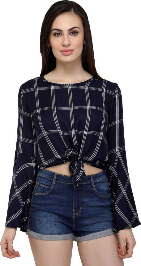 20abdc2cc9af09 Chimpaaanzee Casual Bell Sleeve Checkered Women Dark Blue Top - Buy  Chimpaaanzee Casual Bell Sleeve Checkered Women Dark Blue Top Online at  Best Prices in ...