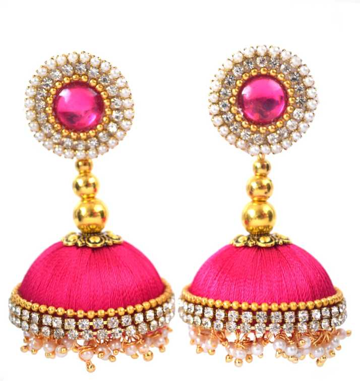 e78a0e829 Flipkart.com - Buy DarkLady Pink Loreal Designer Silk Thread Earrings For  Women Beads Fabric Jhumki Earring Online at Best Prices in India