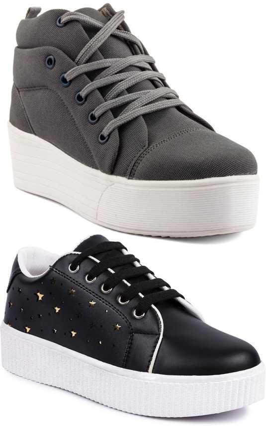 Longwalk Girls Classic Plain Ankle   Designer Sneakers For Women (Black 1a936d289