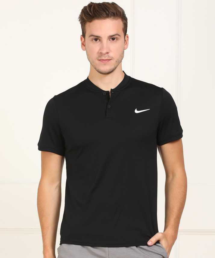99609c76454d Nike Self Design Men's Henley Black T-Shirt - Buy Nike Self Design Men's  Henley Black T-Shirt Online at Best Prices in India   Flipkart.com
