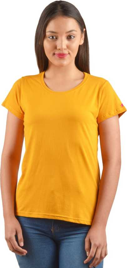 1ec9d2b71e8d PrintOctopus Self Design Women Round Neck Yellow T-Shirt - Buy PrintOctopus  Self Design Women Round Neck Yellow T-Shirt Online at Best Prices in India  ...
