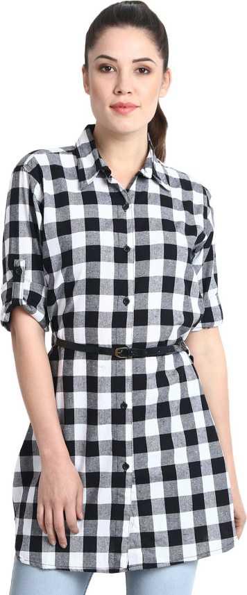 3c9df5562c4 CUTEWIN Women's Checkered Formal Black, White Shirt