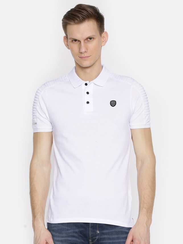 fa74f161cd07 883 Police Solid Men s Polo Neck White T-Shirt - Buy 883 Police ...