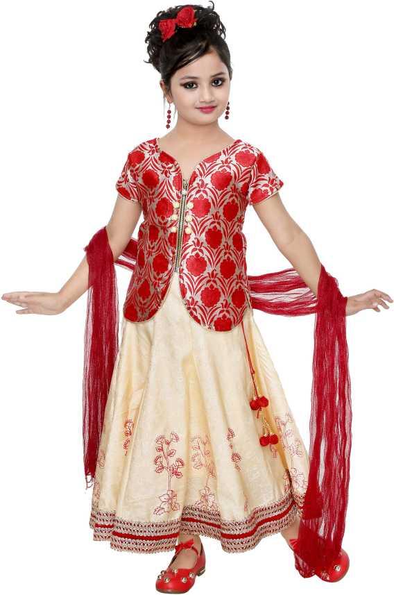 82072a8de4 smartbazar Girls Lehenga Choli Party Wear, Ethnic Wear Self Design Ghagra,  Choli, Dupatta Set (Multicolor, Pack of 1)