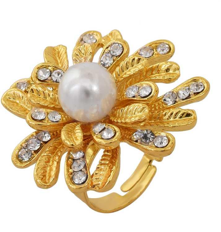 Memoir Memoir Rose Gold Plated Pearl Cubic Zirconia Flower Design