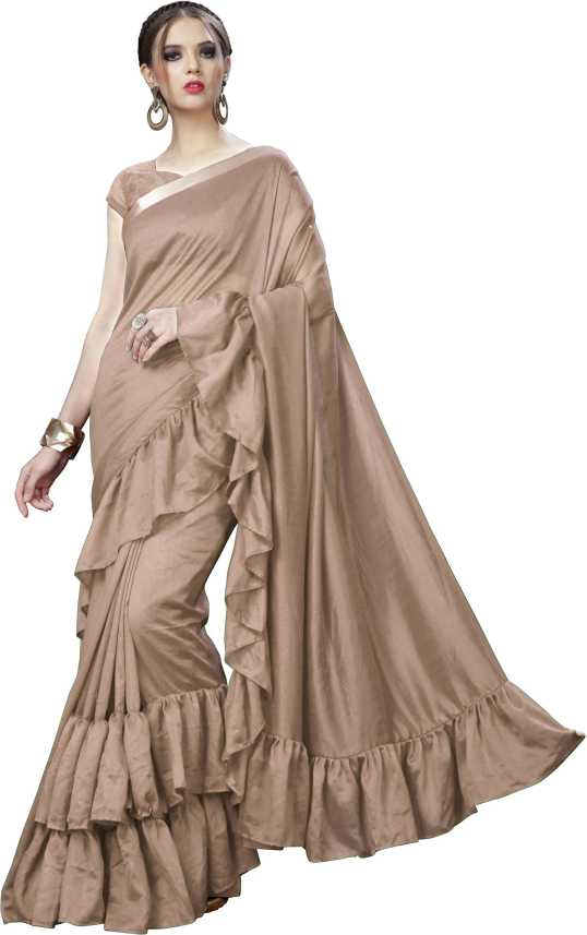 dc23c56f7095 Buy Sargam Fashion Solid Bollywood Silk Brown Sarees Online   Best ...
