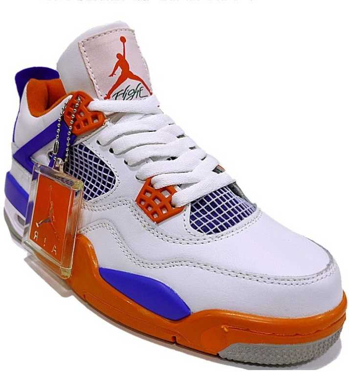 "best website 90167 b7ae7 Air jordan 4 New 2018 Custom ""Knicks†White/Royal Blue-Orange Basketball  Shoes For Men"