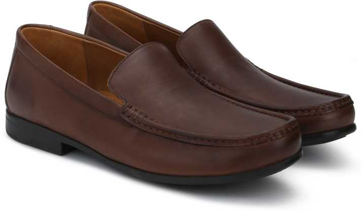 Clarks Claude Plain Brown Leather Loafers For Men Buy
