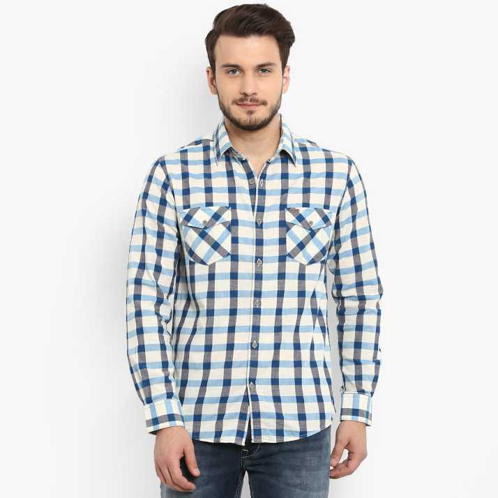 b86e6006c43 Mufti Men Checkered Casual Spread Shirt