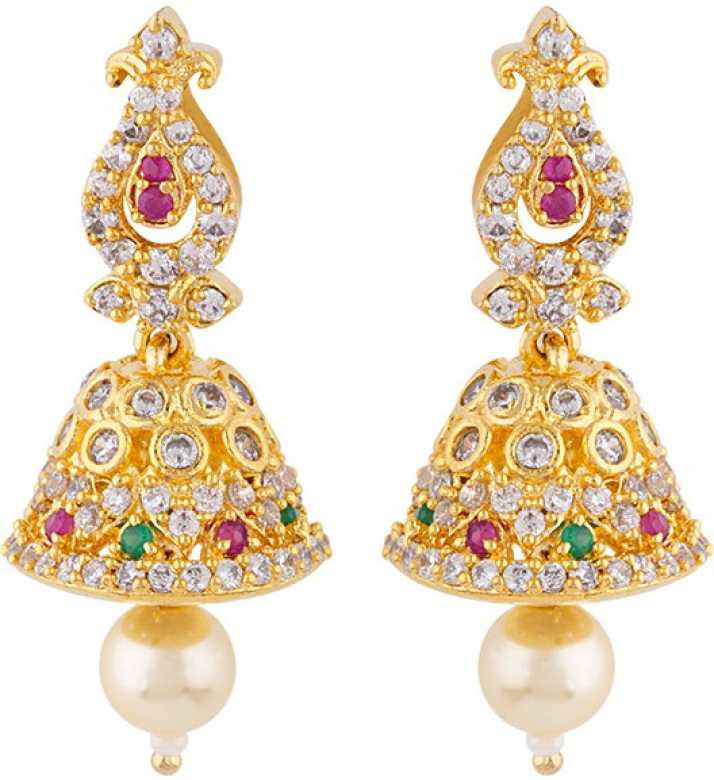 Voylla Yellow Gold Plated Jhumka Earrings Ruby Brass Jhumki Earring