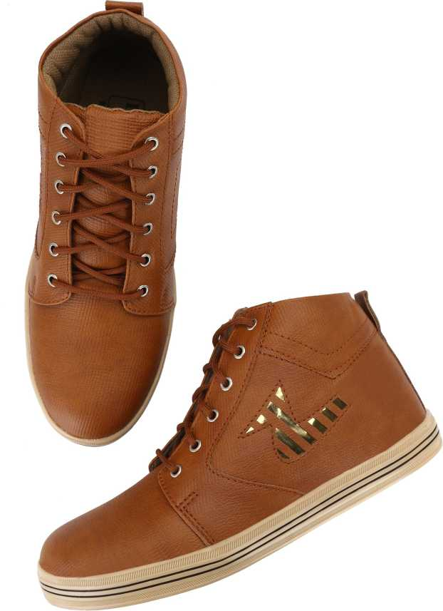 0874d03c3b068 ELENTINO Men's Casual Stylish High Neck Sneakers | Brown Colour Synthetic  Leather High Neck Canvas Shoes Light Weight & Premium Quality Party-Wear ...
