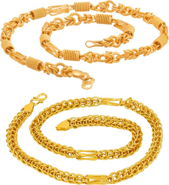 c77c3c982 Thrillz Trendy And Fancy Exclusive Design Link Metal Neck Chain Combo Pack  For Men and Boys Gold-plated Plated Metal Chain Set Price in India - Buy  Thrillz ...