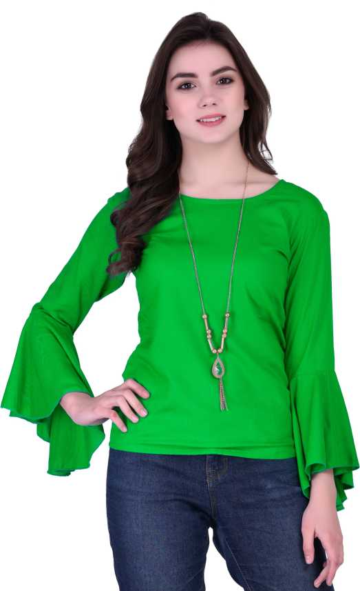 365efb012e386 VAANYA Casual Bell Sleeve Solid Women s Green Top - Buy VAANYA Casual Bell  Sleeve Solid Women s Green Top Online at Best Prices in India
