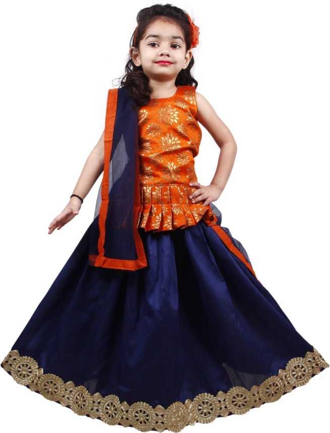 b0747edbc4 NAJARA FASHION Indi Girls Lehenga Choli Ethnic Wear Embellished Ghagra Choli  (Orange, Pack of 1)