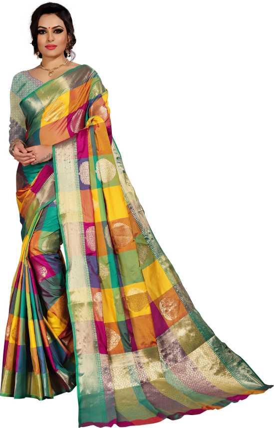 fd299923f Buy Silk Zone Checkered Kanjivaram Silk Multicolor Sarees Online @ Best  Price In India | Flipkart.com