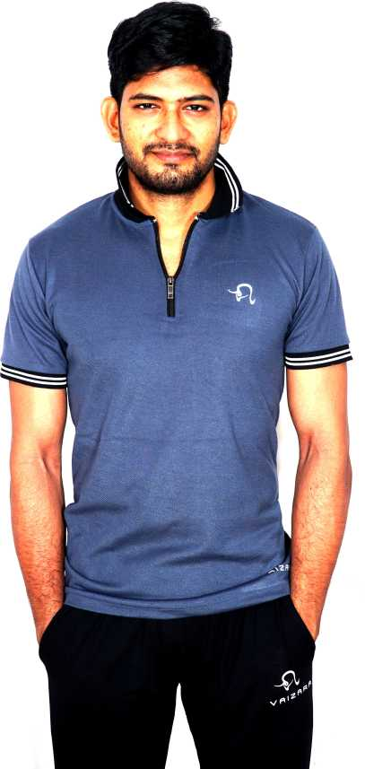 3dfd9bf5 VAIZARA Printed Men Polo Neck Grey T-Shirt - Buy VAIZARA Printed Men Polo  Neck Grey T-Shirt Online at Best Prices in India | Flipkart.com
